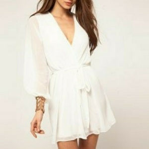 White ASOS Wrap Dress with Sequin Cuff